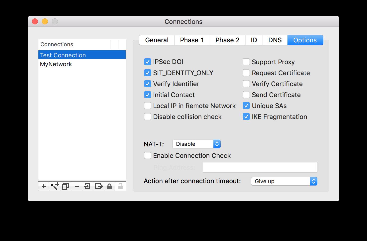 Setup vpn connection on a mac