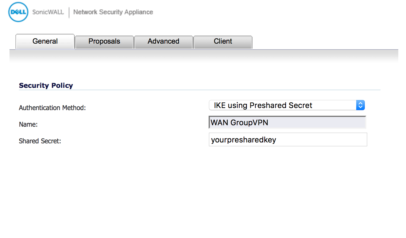 Setup VPN connection to SonicWALL from Mac OSX with